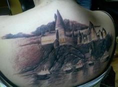 My first tattoo. I sat for 6 hours, and still have one more session to go. If you recognized it as Hogwarts from Harry Potter, I love you. When it gets finished it will be beautiful. Matt at Hearts of Gold tattoo shop in Vancouver, WA did this. He's great.