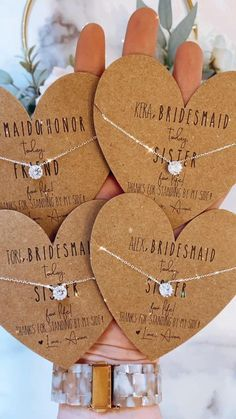 OBSESSED! The perfect dainty bridesmaid necklaces! Personalized cards, box and ribbon included! Bridesmaid Thank You, Will You Be My Bridesmaid, Diy Birthday, Birthday Gifts, Baby Shower Favors, Bridal Shower, Bridesmaid Necklaces, Personalized Bridesmaid Gifts, Ribbon Colors