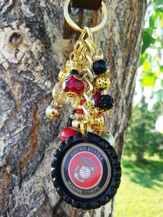 USMC Marine Corps Rearview Mirror Charm, Purse Charm, and Key Chain by LuckyHorseLove on Etsy