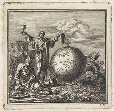 Jan Luyken | Twee mannen genieten van drank en voedsel terwijl Satan vanachter de wereldbol toekijkt, Jan Luyken, wed. Pieter Arentsz & Cornelis van der Sys (II), 1710 |