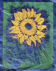 Sunflower  Original Linocut Print Blue or by TheGreyFoxStudio