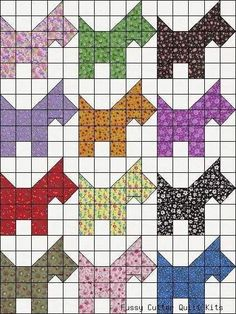 Calico Scotty Dog Scotties Puppy Grab Bag Fabric Easy Pre-Cut Quilt Blocks Kit i. Dog Quilts, Animal Quilts, Scrappy Quilts, Patchwork Quilting, Patch Quilt, Colchas Quilt, Quilt Blocks, Quilting Tutorials, Quilting Projects