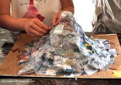 Paper mache volcano.  I have 6 siblings, seems that one of us was always making one of these for the school science fairs.