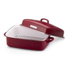 Kitchenaid turkey roaster with rack and lid - red.