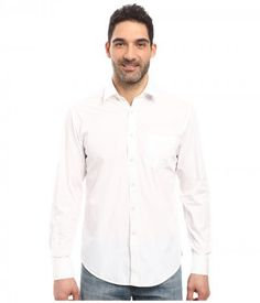 James Campbell - Long Sleeve Woven Upton (White) Men's Long Sleeve Button Up