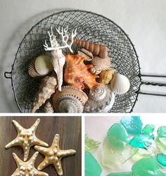 chocolate filled seashells and hard candy sea glass