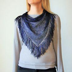 Dark Blue Tassels Triangle Scarf / Hand Knitted Blue by RUKAMIshop
