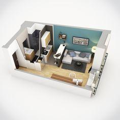 Axonométrie d'un studio réalisée pour la société Colocation City