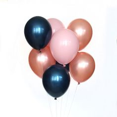 Blushing Midnight Balloon Bundle – Wants and Wishes pink, rose gold & navy balloons