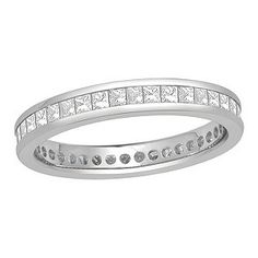 18ct white gold full eternity ring featuring princess cut diamonds totalling one carat. A modern version of the classic eternity ring.