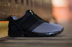 new arrival 597d8 6a8af adidas Originals ZX Flux Slip On Granite Carbon Core Black - Tags   sneakers, low-tops, minimal, gray mesh, elastic strap