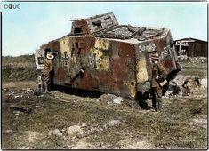 "German A7V Sturmpanzerwagen (Nº504 ""Schnuck"") Abteilung 2. Captured by the New Zealand Division at Frémicourt, Nord-Pas-de-Calais. 31st August 1918 (photo taken 18/9/18). Colourized."
