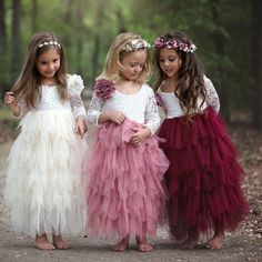 White Lace and Pink Tulle Lovely Flower Girl Dresses - Promfy Fall Flower Girl, White Flower Girl Dresses, Wedding Flower Girl Dresses, Little Girl Dresses, Girls Party Dresses, Childrens Bridesmaid Dresses, Kids Bridesmaid Dress, Vintage Flower Girls, Wedding Dresses For Kids