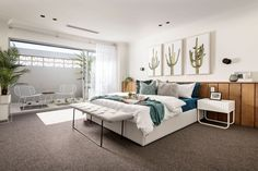 Laidback elegance Lay back and enjoy this elegant bedroom by Webb & Brown-Neaves. Bedroom Inspo, Bedroom Decor, Bedroom Inspiration, Bedroom Ideas, 4 Bedroom House, Master Bedroom, Display Homes, Building A New Home, Spring Home