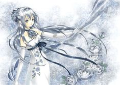 Princess with long silver hair, blue eyes, white strapless dress, & flowers by manga artist Shiitake.