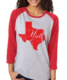 Love this Gray & Red 'Texas Y'all' Baseball Raglan Tee - Plus on #zulily! #zulilyfinds