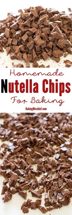 A simple and easy method for making homemade Nutella chips for baking. Desserts Nutella, Nutella Recipes, Köstliche Desserts, Chocolate Recipes, Dessert Recipes, Nutella Cake, Filipino Desserts, Gourmet Recipes, Sweet Recipes