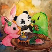 Dino & Panda Inc by DinoandPandaInc on Etsy  Cute artwork dedicated to making you smile! This one is a watercolour scene of Dino & Panda having cheese fondu with their bunny friend!