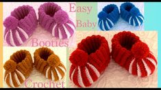 New and Easy Baby Booties - AmigurumiHouse Booties Crochet, Crochet Baby Boots Pattern, Crochet Bebe, Crochet Baby Booties, Crochet Slippers, Crochet Baby Blanket Beginner, Baby Knitting, Crochet Videos, Crochet Classes