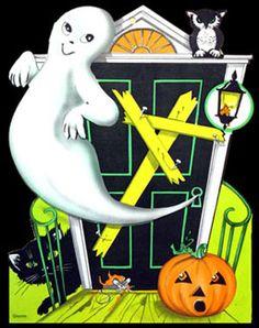 Vintage Halloween Greeting Card ~ Ghost & Jack O' Lantern