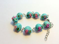 Turquoise and Pink Day of the Dead Sugar Skull Adjustable Chain Bracelet by PennysLane on Etsy
