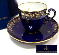 SEVRES cup and saucer, so elegant! What an incredible shade of blue.
