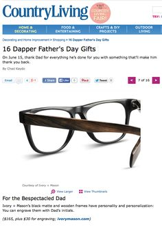 Ivory Mason Eyewear on Country Living.com's Father's Day Gift Guide!