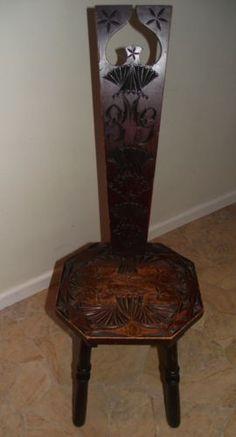 vintage carved spinnig chair | eBay