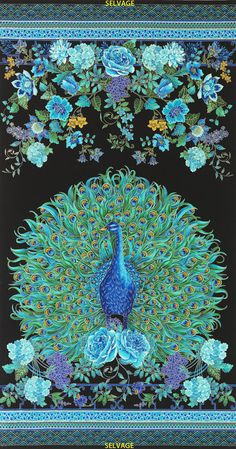 "Timeless Treasures Fabric Panel Peacock Enchanted Plume 24"" x 44"" with Gold Metallic Quilting Cotton Crafting Sewing"