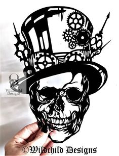 Steampunk Skull Gothic Alternative Paper Cutting Template for