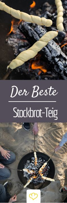 So you do the very best stick bread dough - with and without yeast - Brot selber backen - Rezepte - Picknick Grilling Recipes, Cooking Recipes, Snacks Recipes, Bread Recipes, Tasty, Yummy Food, Snacks Für Party, Food Inspiration, Kids Meals