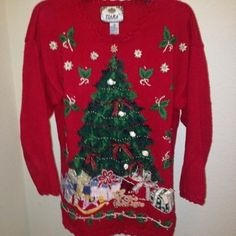 Vintage Christmas Sweater Real ringing bells, bows, and hideous joy underneath the tree. This awesome sweater will cheer up everyone at your next holiday gathering. Sweaters Crew & Scoop Necks