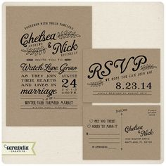 Rustic Kraft Wedding Invitation and RSVP by CaraBellaCreative, $30.00