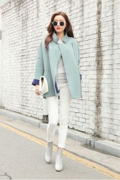 Winter colors coat mint blue
