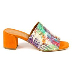 Color: Multicolor Size: 39 IT – 9 US Made of: LEATHER + FABRIC By Versace 19.69 Abbigliamento Sportivo Srl Milano Italia – Details: DP0640 SEPHORA ARANCIO – Color: Multicolor – Composition: LEATHER + FABRIC – Sole: 100% CALF LEATHER – Heel: 5 cm – Made: ITALY