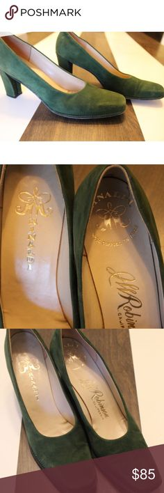 """vintage rinaldi green suede jw robinson heels 6.5 these beautiful heels would make a great addition to your fall/winter wardrobe. and think of all the christmas parties you could wear them to. absolutely gorgeous well made heels with a wool composition insole. i am a solid us women 6.5 and they fit perfect. measurements below    ball of foot 3""""  arch 1 3/4""""  heel height 2 3/4""""  length approx.  9 1/2"""" rinaldi Shoes Heels"""