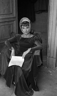 Audrey Hepburn on the set of War and Peace