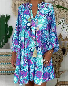Casual V Neck Loose Bracelet Sleeve Splicing Pleated Dress Daytime Dresses, Casual Dresses, Summer Dresses, Mini Dresses, Dresses Dresses, Floral Dresses, Types Of Sleeves, Dresses With Sleeves, Sleeve Dresses