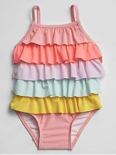 Gap Baby Rainbow Ruffle Swim One-Piece Multi Gap Baby Rainbow Ruffle Swim Einteiler Multi Baby Girl Swimsuit, Girls One Piece Swimsuit, Maternity Swimsuit, Best Swimwear, Kids Swimwear, Swimsuits 2014, Baby Gap Girl, Baby Girl Shoes, Baby Girls