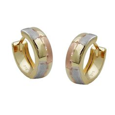 Hoop Earrings Diamond Cut Tri-colour 9k Gold