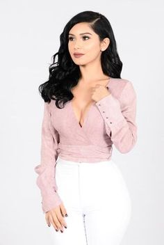 Available in Mauve and Grey Long Sleeve Crop Top Surplice Neckline Tie On The Waist Studded Sleeve Buttons Made in USA Rayon Long Sleeve Crop Top, Fashion Outfits, Fashion Poses, Fashion Ideas, Women's Fashion, Cute Outfits, Summer Outfits, Autumn Fashion, My Style