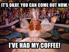 Coffee humor. Funny meme. Good witch