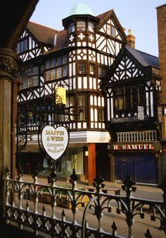 Tudor Architecture Chester England, along the high street.  Lived in Chester 3 years, miss it.