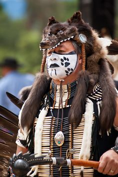 primitive headdress | For the Wild-Hearted Souls - Man with wolf skin headdress