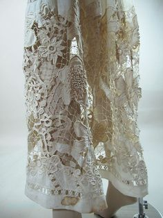 Museum Quality Edwardian Mixed Lace Gown With Irish Crochet