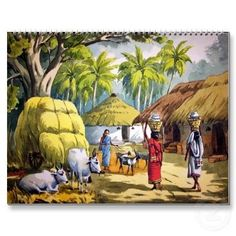 Shop Indian village painting calendar created by Personalize it with photos & text or purchase as is! Art Village, Village Scene Drawing, Village Girl, Indian Village, Om Namah Shivaya, Poster Color Painting, Poster Colour, Composition Painting, Picture Composition