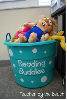 """Have a bucket of """"Reading Buddies"""" for silent reading time. :) For reading corner New Classroom, Classroom Setting, Classroom Ideas, Classroom Design, Preschool Rooms, Kindergarten Reading Corner, Preschool Reading Corner, Preschool Classroom Decor, Classroom Reading Nook"""