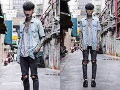 Vintage Shirt, Asos Vest, Topshop Skinny