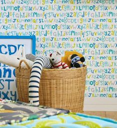 Letters Play Wallpaper, Blue & Gold Letters Wallpaper, From the Guess Who Wallpaper collection, Available in 3 colours Kids Wallpaper, Fabric Wallpaper, Scion Fabric, The Guess Who, Gold Letters, Bold Stripes, Blue Gold, Playroom, Whimsical