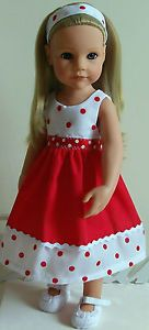 red spotty dress & Alice band made to fit 18 Dolls Designafriend/Gotz hannah American Girl Outfits, American Girl Dress, American Doll Clothes, American Dolls, Sewing Doll Clothes, Baby Doll Clothes, Sewing Dolls, Doll Sewing Patterns, Doll Dress Patterns